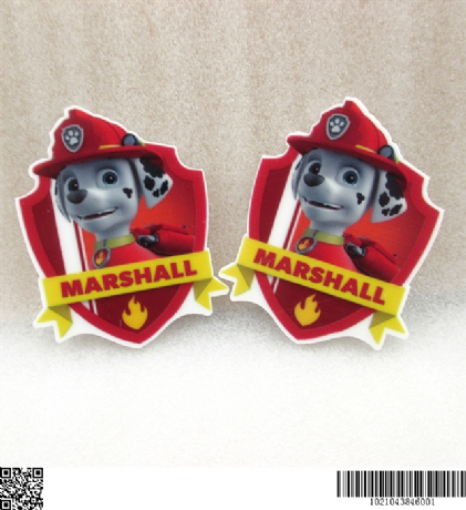 5 x 40MM MARSHALL FROM PAW PATROL LASER CUT FLAT BACK RESIN HEADBANDS HAIR BOWS CARD MAKING